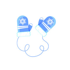 Flat cartoon pair of winter blue mitters with snowflake, vector illustration isolated on white background