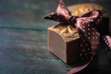 Closeup of organic handmade soap with natural chocolate.