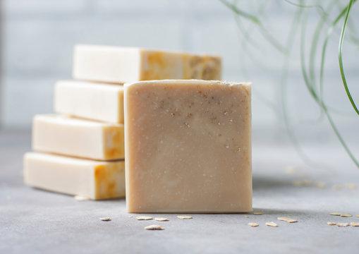 Handmade soap bars with oatmeal flakes. Organic soap making. Spa treatments.