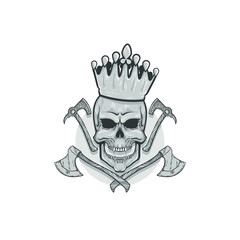 Silver skull with crown and weapons, vector realistic sketch illustration isolated on white background, gray emblem with angry skull