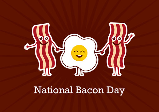 National Bacon Day vector. Bacon and egg cartoon character. Cheerful bacon with egg. American Food & Beverage Holiday. Important day