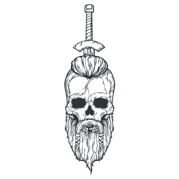 Viking skull with a sword in the head, vector illustration isolated on white background