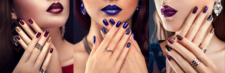 Aluminium Prints Manicure Beautiful woman with perfect make-up and blue manicure wearing jewellery. Beauty and fashion concept.