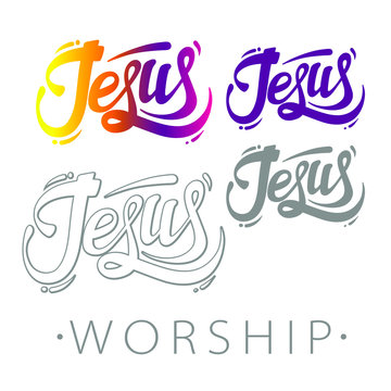 Jesus worship emblem, church logotype, vector illustration isolated on white background