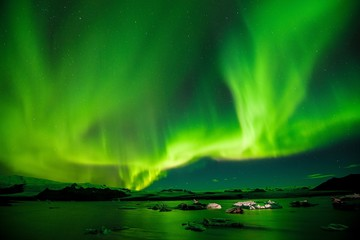 Beautiful green aurora in Alaska