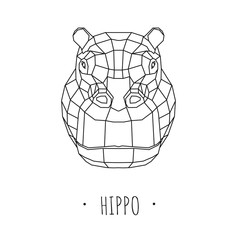 Hippo stylized triangle polygonal model. Vector illustration