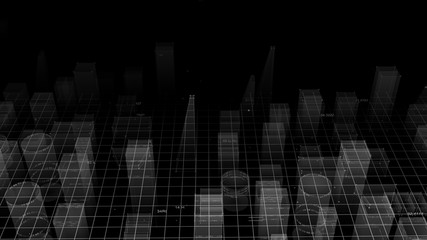 3D Rendering technological digital background consisting of a futuristic city with data