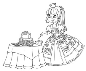 Beautiful princess near the table with a delicious cakel outlined picture for coloring book on white background