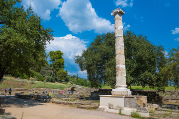 Ionic column of the echo portico (4th BC), famous building for its acoustics in the archaeological site of Olympia in Peloponnese, Greece