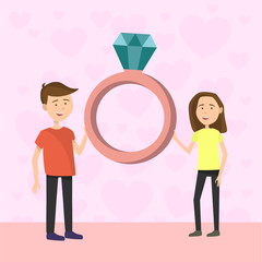 Flat Couple on Valentines day engagement proposal on pink background