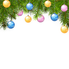 christmas background with balls and fir branches