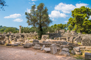 Temple of Zeus in the most prominent position of the sanctuary in the archaeological site of Olympia in Greece