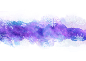 Watercolor christmas background, winter texture blue with purple watercolors with snowflakes Watercolor strip for postcard