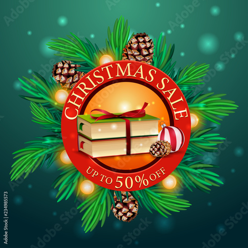 Round discount Christmas banner with Christmas tree branches, garland and Christmas books