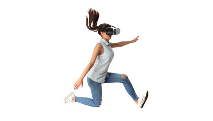 Young woman in virtual reality (VR) glasses holding tablet. Isolated on white background