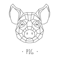 Pig stylized triangle polygonal model. Vector illustration