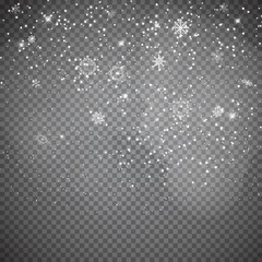 Falling Shining Snowflakes and Snow on Transparent  Background. Christmas, Winter and New Year Background. Realistic Vector illustration for Your Design