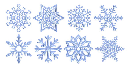 Set of vector snowflakes, decorative snow crystals