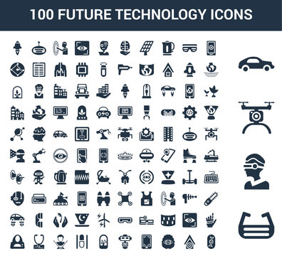 100 Future Technology universal icons set with Ar glasses, Vr Drone, Car, Smartphone, Smart house, Artificial intelligence, Robot, Tree