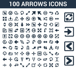 100 arrows universal icons set with Skip Track, Backward Arrow, Enter Left, Loading Arrows, Three Curved Expad Counter Zoom Directions, Exit Top Right, Diagonal Resize