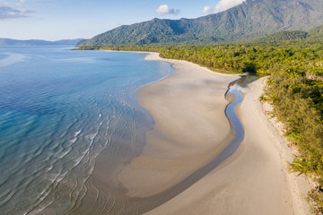 Aerial View of Noah Beach in the Daintree area of tropical far north Queensland. In this beautiful section of coast the rainforest meets the sea.