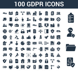 100 GDPR universal icons set with Account, Folder, Person, List, Laptop, Key, Document, Book, Smartphone, World