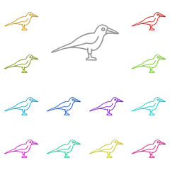 Crow icon in multi color. Simple glyph vector of halloween set for UI and UX, website or mobile application