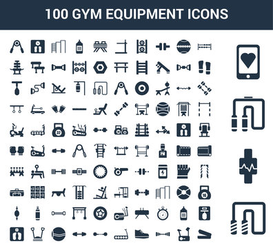 100 gym equipment universal icons set with Jumping rope, Watch, Chest expander, Smartphone, Dumbbells, Stationary bike, Dumbbell, Sneakers, Treadmill, Dumbbell