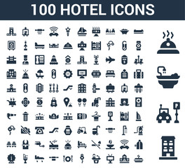 100 Hotel universal icons set with Building, Parking, Bathtub, Meal, Air conditioner, Television, Reception, Room key, Restaurant