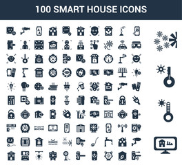 100 Smart House universal icons set with Home, Temperature, Cooler, key, Eco home, Alarm, Power, Handle, Fan