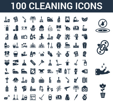 100 Cleaning universal icons set with Rose cleanin, Hands Compress No water Leaf Tampon Garbage truck cleanin