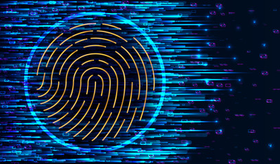 Fingerprint Scanning Identification System. Biometric Authorization and Business Security Concept. Scanning Identification System. Abstract digital conceptual technology security background with lock.