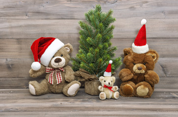 Christmas decoration vintage toys teddy bear family
