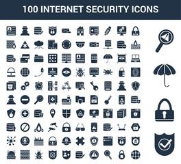 100 Internet Security universal icons set with Shield, Lock, Umbrella, Problem, Password, Safe, Find, Warning, Verification, Insurance