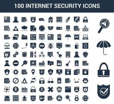 100 Internet Security universal icons set with Shield, Lock, Umbrella, Problem, Password, Safe, Find, Warning, Verification, Insurance
