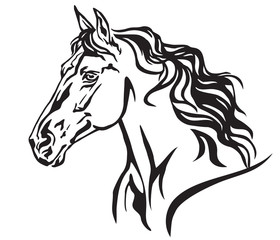Decorative portrait of horse vector illustration 8