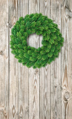 Christmas wreath decoration wooden background