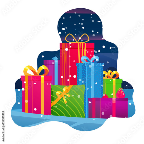 Mountain Gifts Big Pile Of Colorful Wrapped Gift Boxes Beautiful