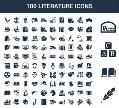 100 Literature universal icons set with Quill, Open book, Abc, Bookshelf, Manuscript, Spy, Knight, Books, Book, Agenda