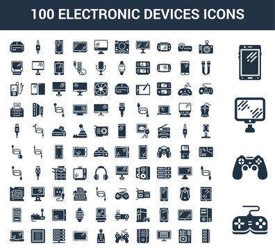 100 Electronic Devices universal icons set with Game controller, Personal Computer, Smartphone, Photo camera, Motherboard, Smart tv, Servers, Joystick