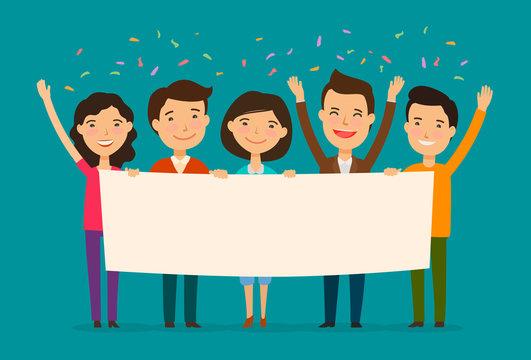 Friends congratulate on holiday. Congratulation, felicitation concept. Cartoon vector illustration
