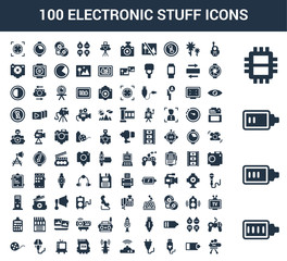 100 Electronic Stuff universal icons set with Full Battery, Battery Almost Full, Low Chip, Walkie talkie, Half USB Connection, Plug, Wifi Modem, Antenna