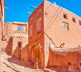 Restored residential house in Abyaneh red village, located on Karkas mountain slope, Iran.