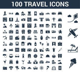 100 travel universal icons set with Icecream, Sunbed, Airplane, Kite, Bed, Swimming pool, Parachute, Rudder, Train, Hat