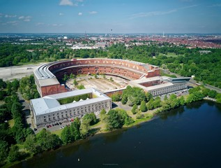 Former Nazi party rally grounds at the large Dutzendteich, Serenadenhof on the left, documentation centre on the right, unfinished Congress Hall of the NSDAP 1933-1945, Nuremberg, Middle Franconia, Franken, Bayern, Germany, Europe
