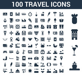 100 Travel universal icons set with Ship, Cocktail, Hotel, Pineapple, Sun bath, umbrella, Island, Bikini, Sunset,