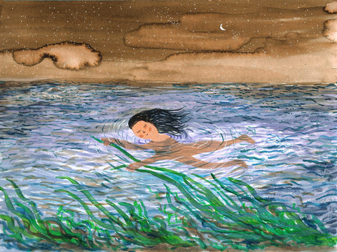 Watercolor painting of swimming woman