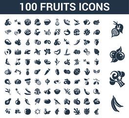 100 Fruits universal icons set with Banana, Cauliflower, berries, Onion, Orange, Raspberry, Ginger, Apple, Grapes, Peanut