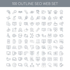 100 SEO WEB outline icons set such as Quality linear, Domain reg