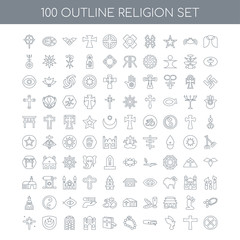 100 religion outline icons set such as Angel linear, Cross Dove